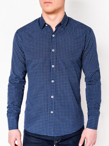 d9f704d7157 Мужская рубашка в клеточку с длинным рукавом K434 - серая серый ...