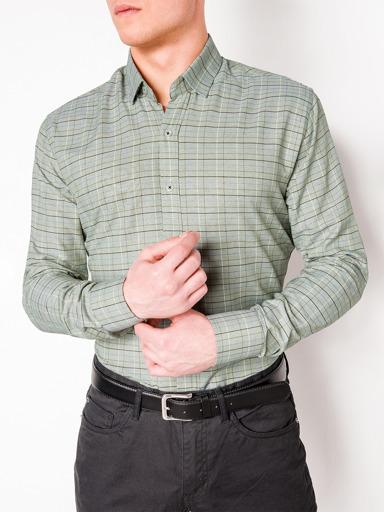 63a52e79884e66b Мужская рубашка в клеточку с длинным рукавом K433 - зелёная зелёный ...