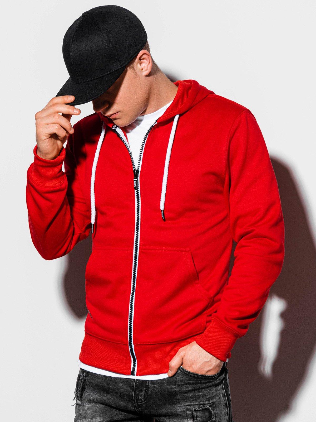 Купить со скидкой Толстовка чоловіча на застібці з капюшоном B977 – червона