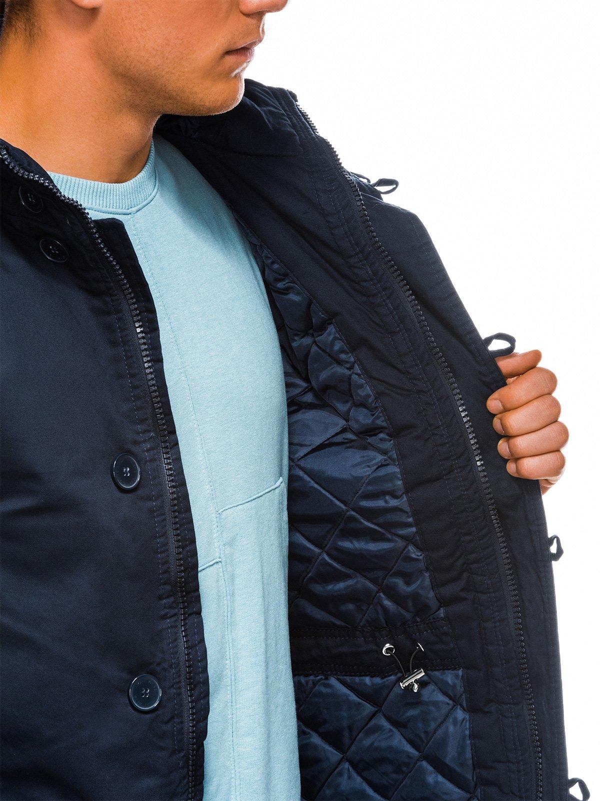 Купить Куртка чоловіча зимова парка C365 - темно-синя, Ombre Clothing