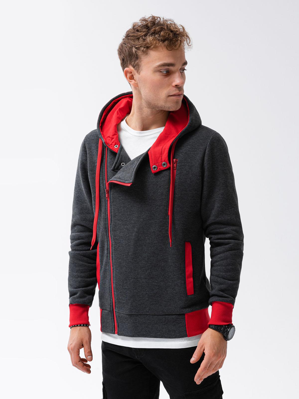 Купить Толстовка чоловіча на застібці з капюшоном B297 - темно-сіро-червона, Ombre Clothing