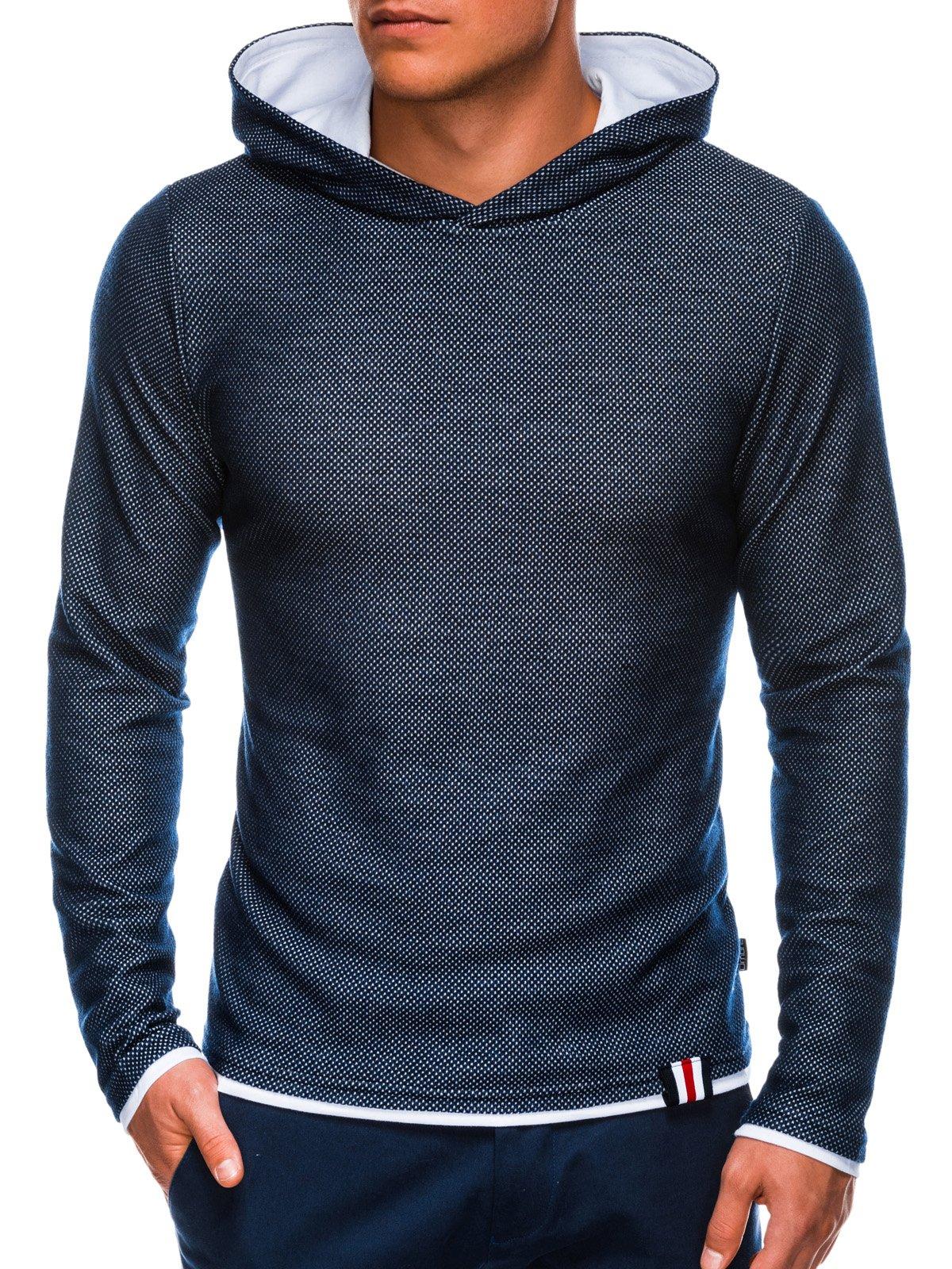 Купить Толстовка чоловіча з капюшоном B698 – темно-синя, Ombre Clothing