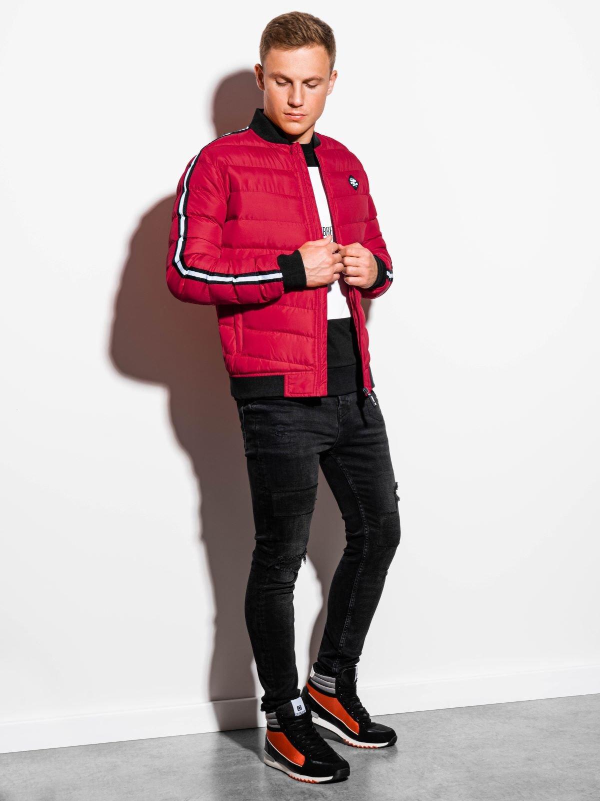 Купить со скидкой Чоловіча стьобана повсякденна куртка C416 -червона