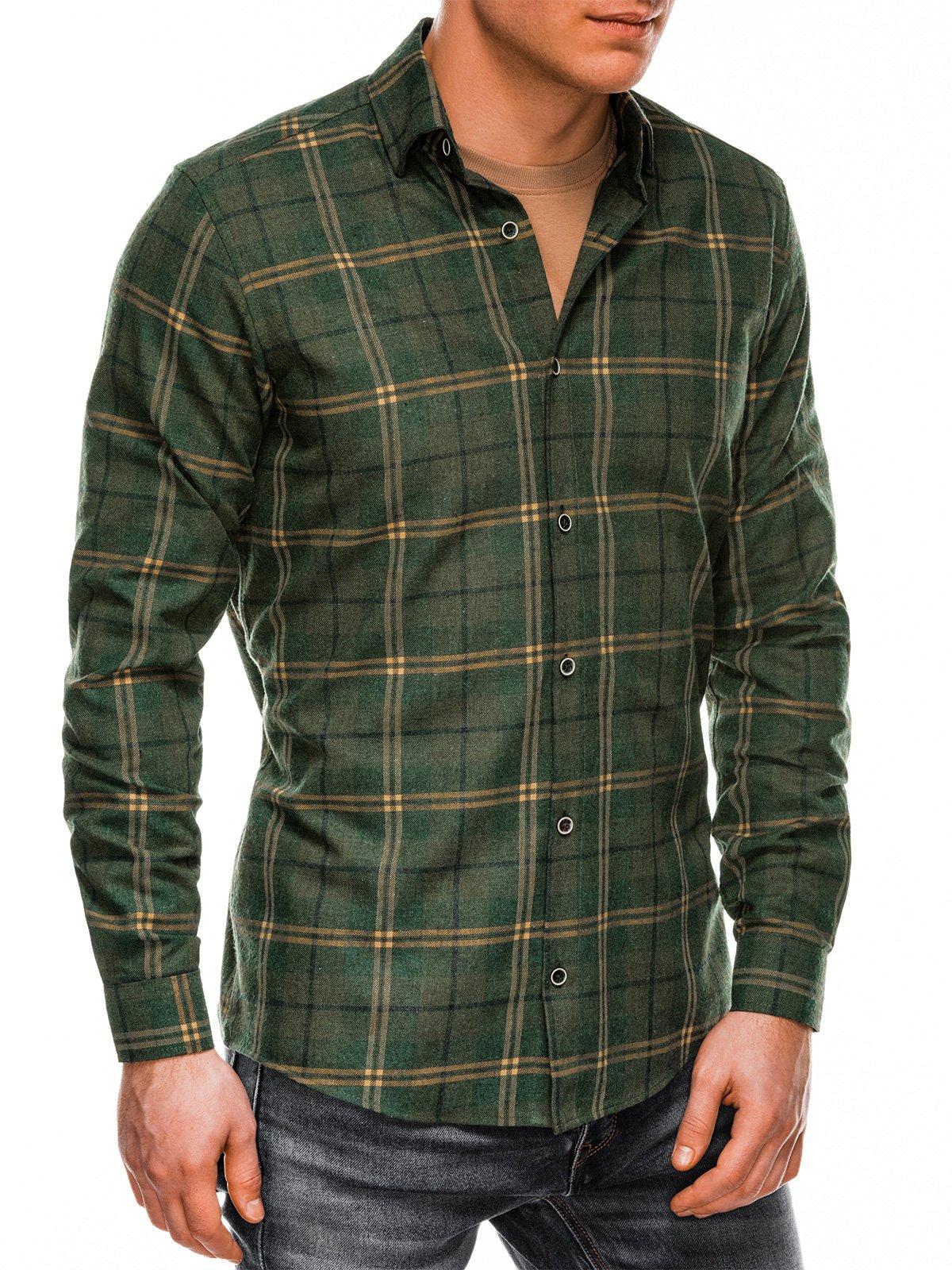 Ombre Clothing / Чоловіча сорочка в клітку з довгим рукавом K511 - хакі