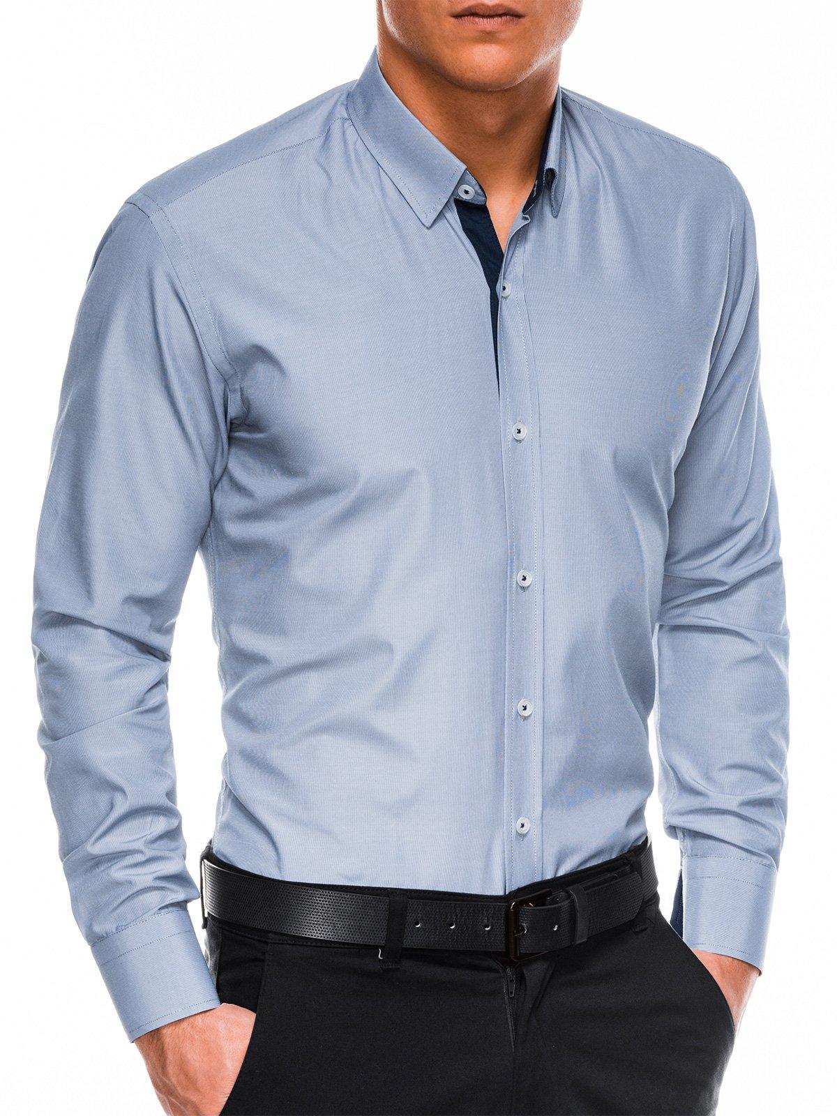 Купить со скидкой Сорочка чоловіча елегантна з довгим рукавом K472 – синя/темно-синя