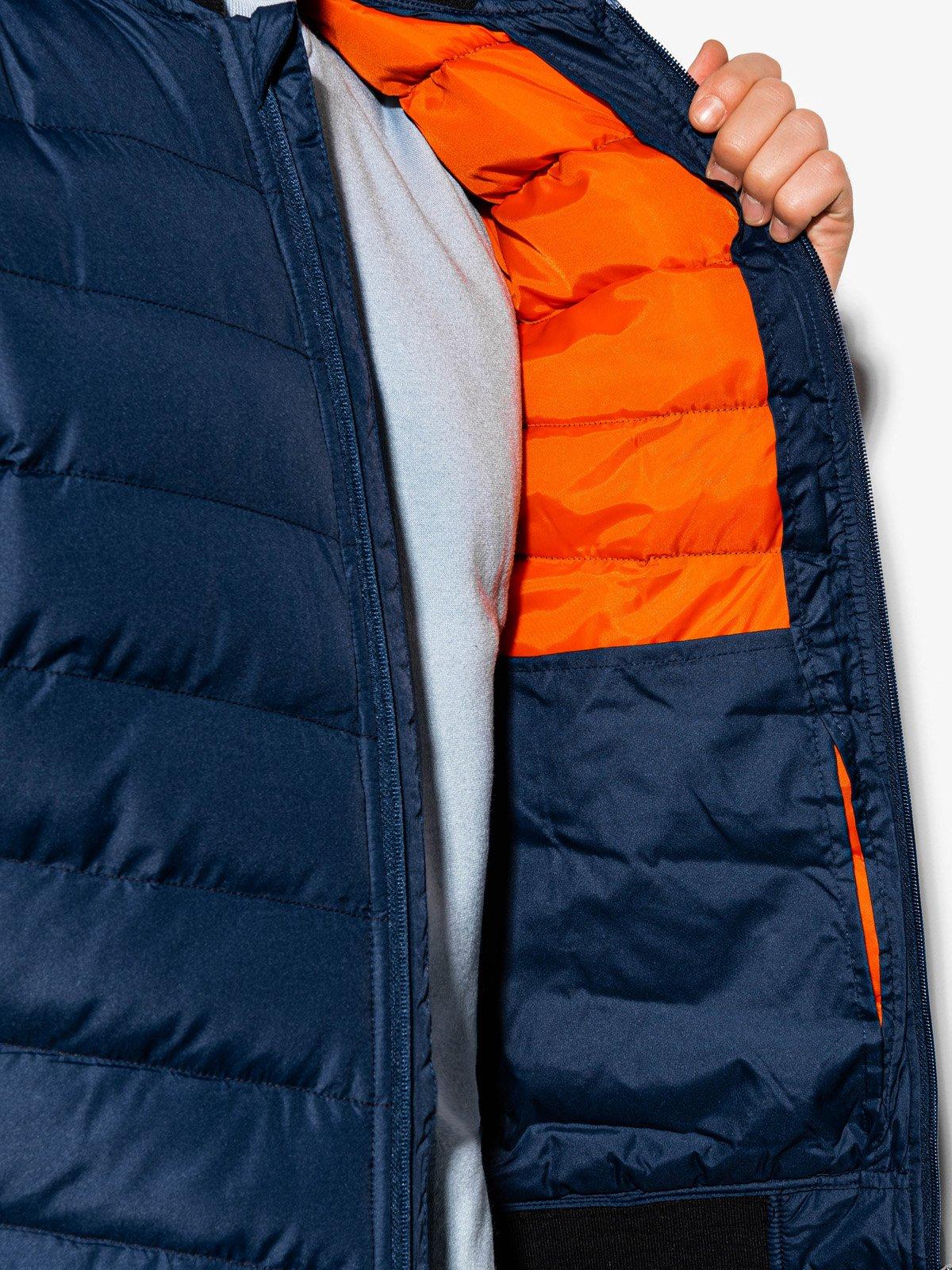 Купить со скидкой Чоловіча стьобана повсякденна куртка C416 - темно-синя