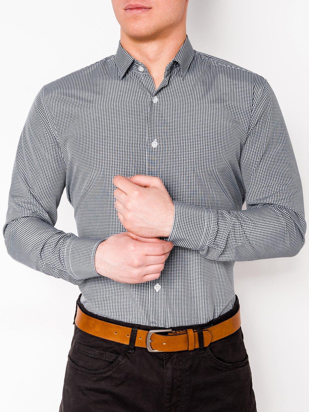 Ombre Clothing / Сорочка чоловіча в клітку з довгим рукавом K435 - чорна