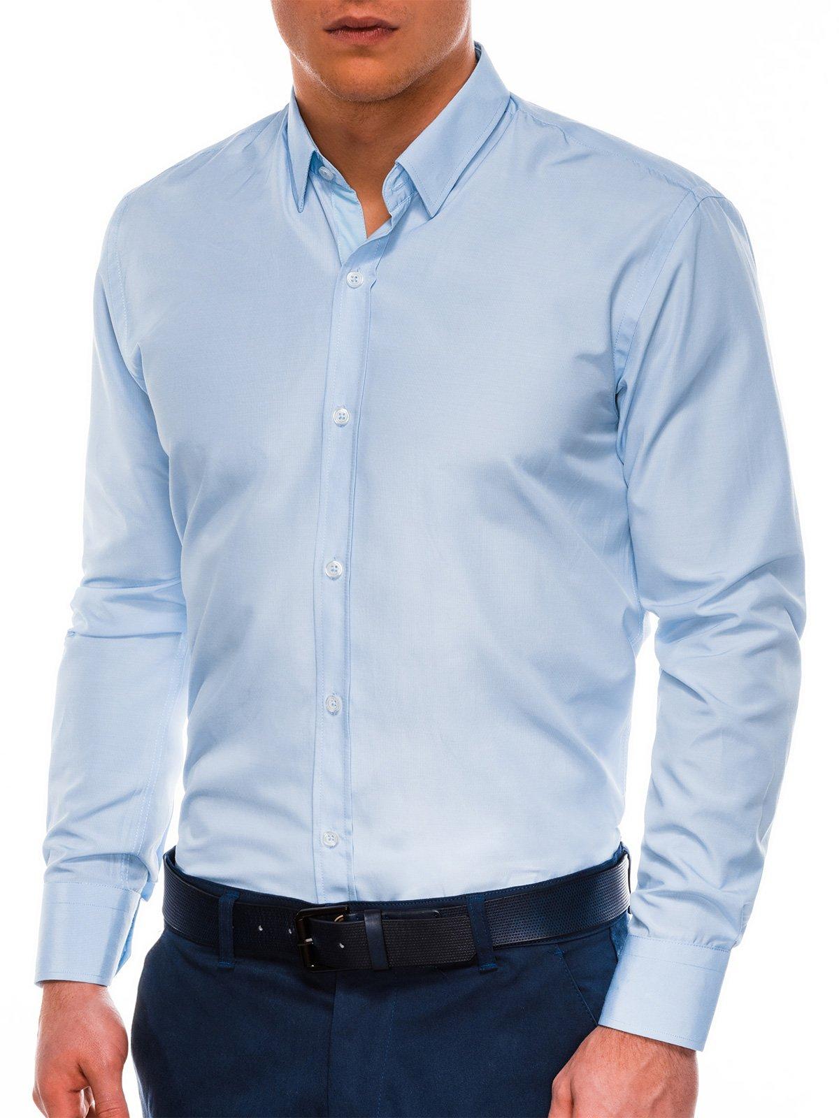Купить со скидкой Сорочка чоловіча елегантна з довгим рукавом K472 – синя