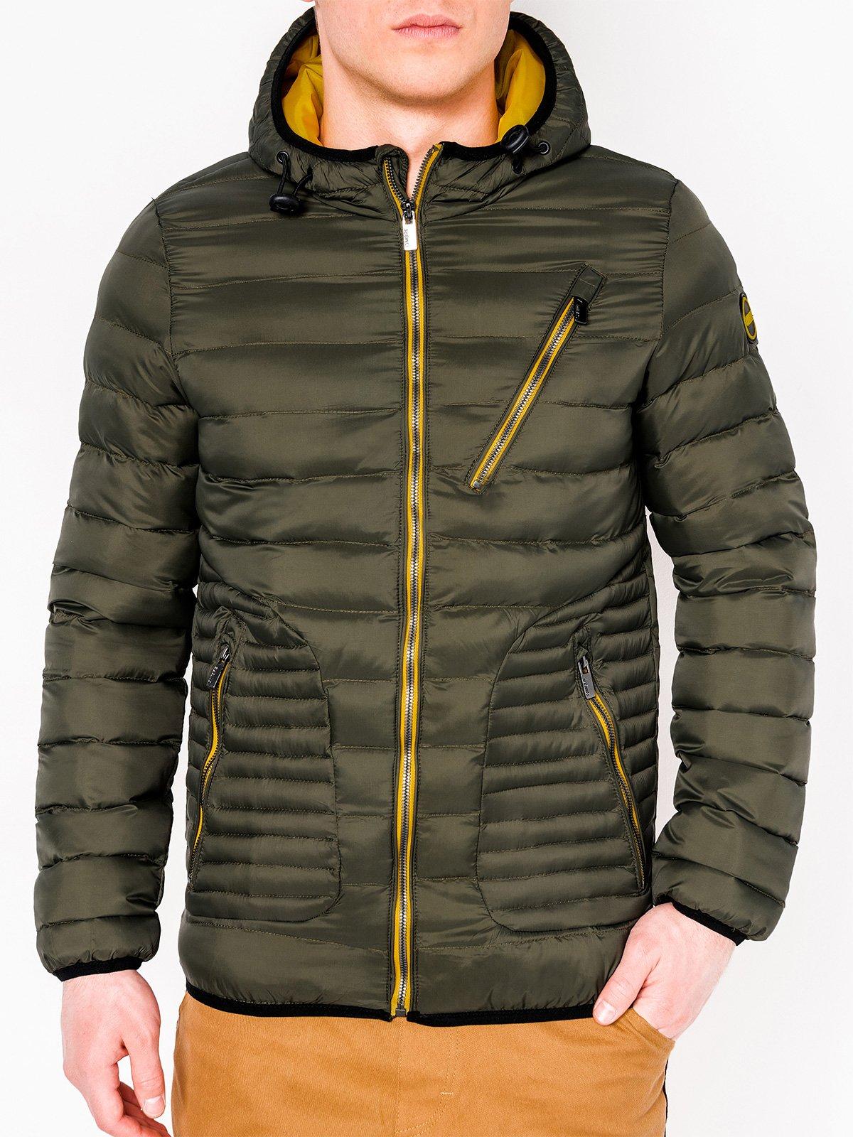 Купить Куртка чоловіча демісезонна стьобана C377 - хакі, Ombre Clothing