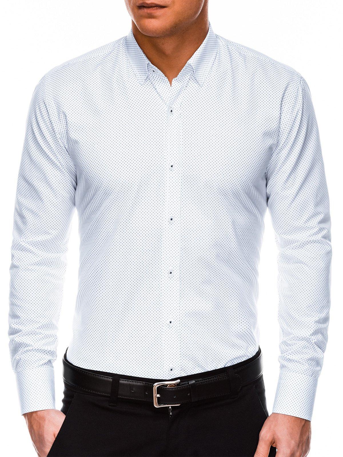 Купить со скидкой Сорочка чоловіча елегантна з довгим рукавом K468 - біла/темно-синя