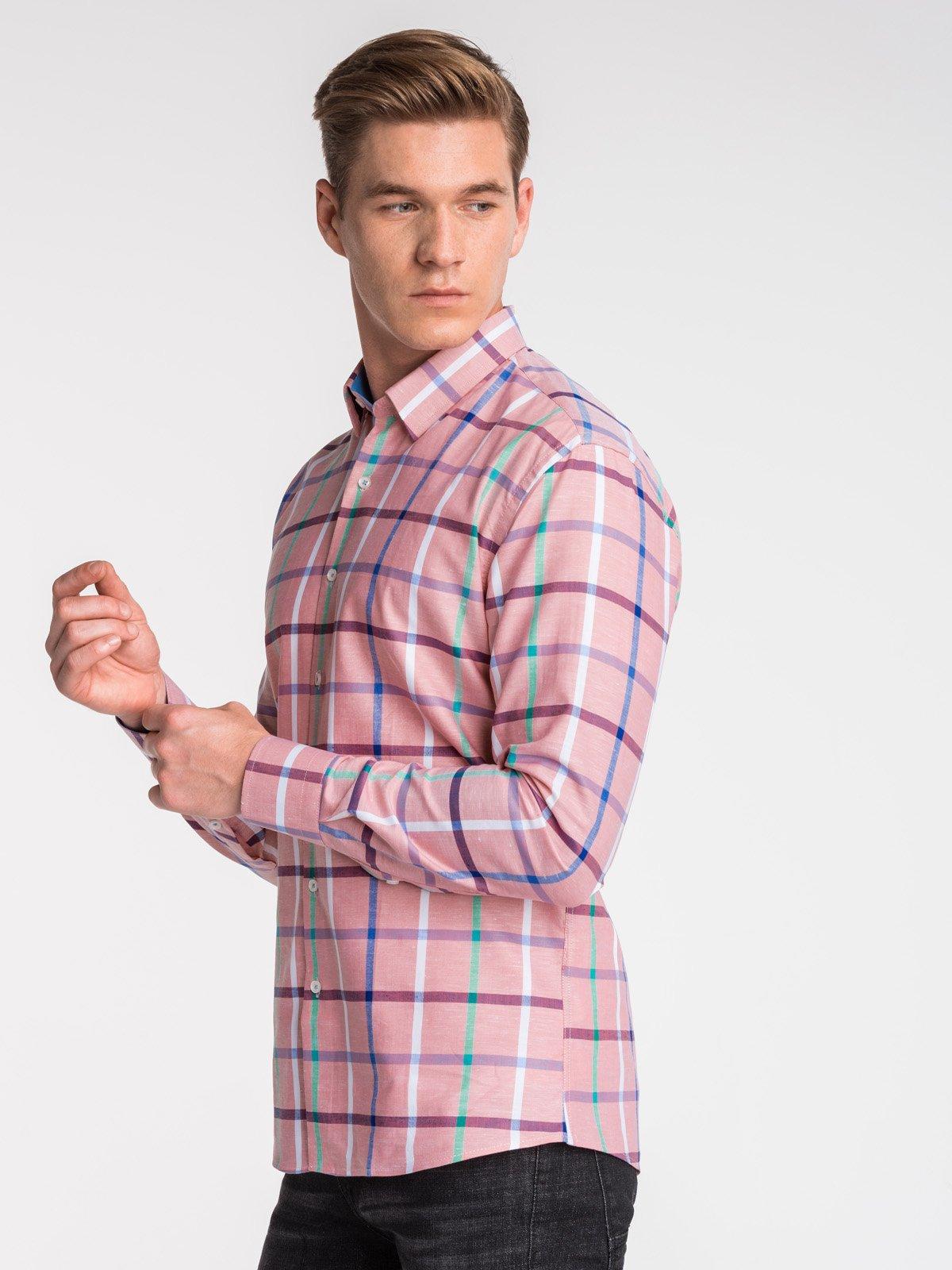 Ombre Clothing / Сорочка чоловіча в клітку з довгим рукавом K493 - рожева