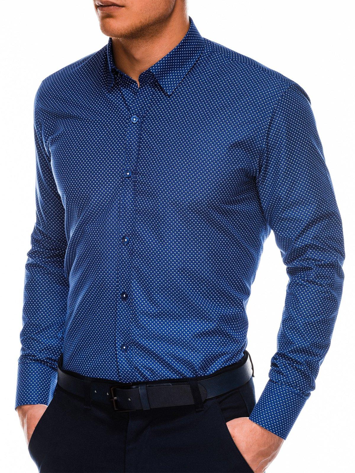 Купить со скидкой Сорочка чоловіча елегантна з довгим рукавом K479 - темно-синя/біла