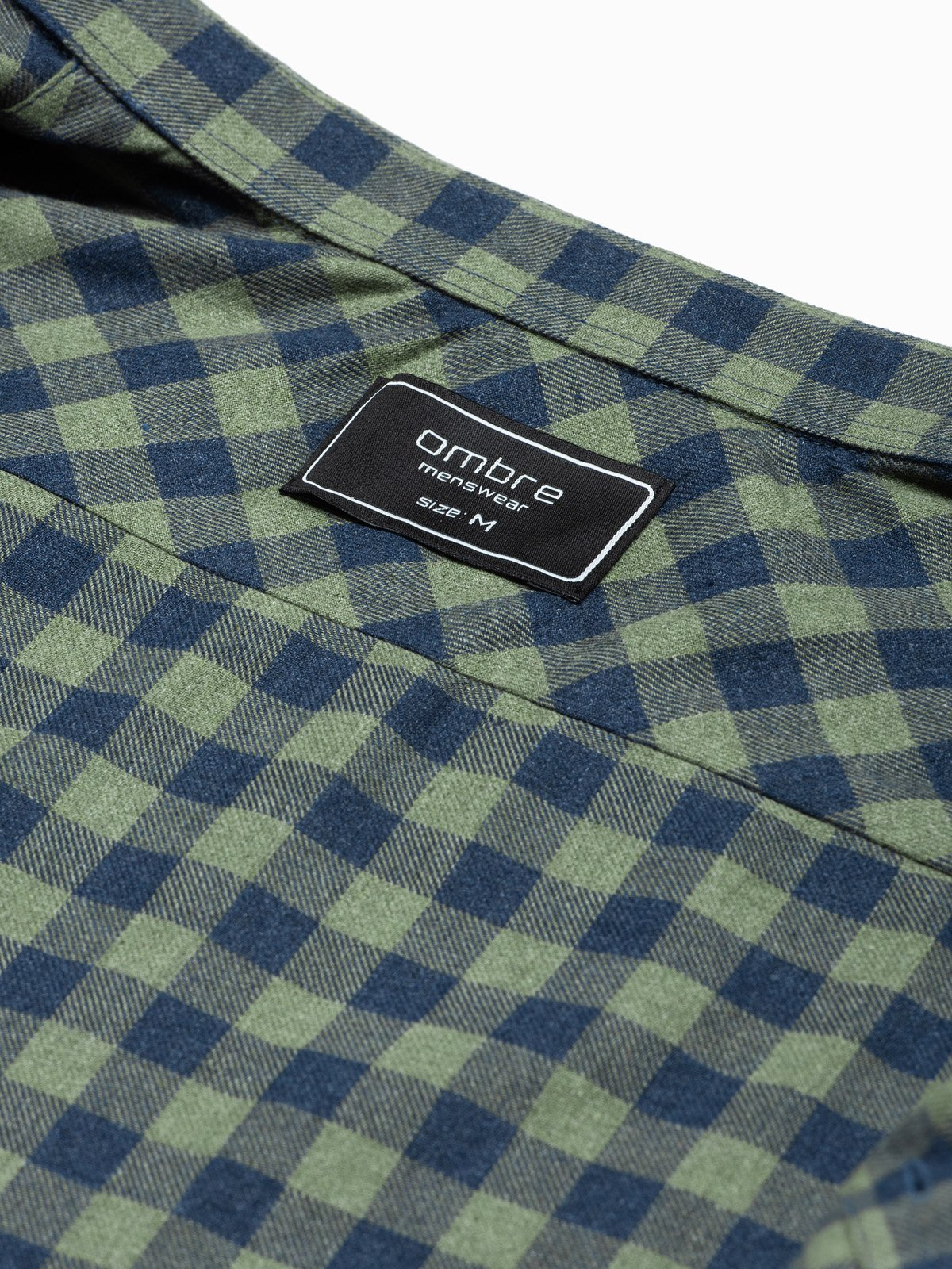 Ombre Clothing / Чоловіча сорочка в клітку з довгим рукавом K509 - хакі