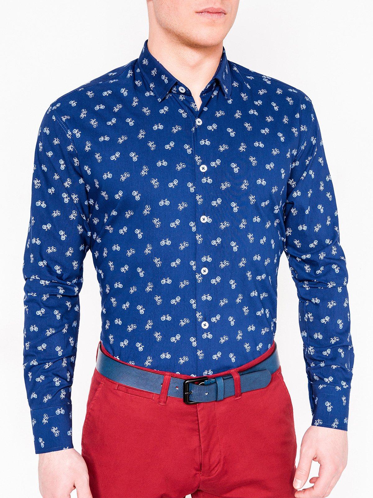 Купить Сорочка чоловіча з довгим рукавом з велосипедами K455 - темно-синя, Ombre Clothing