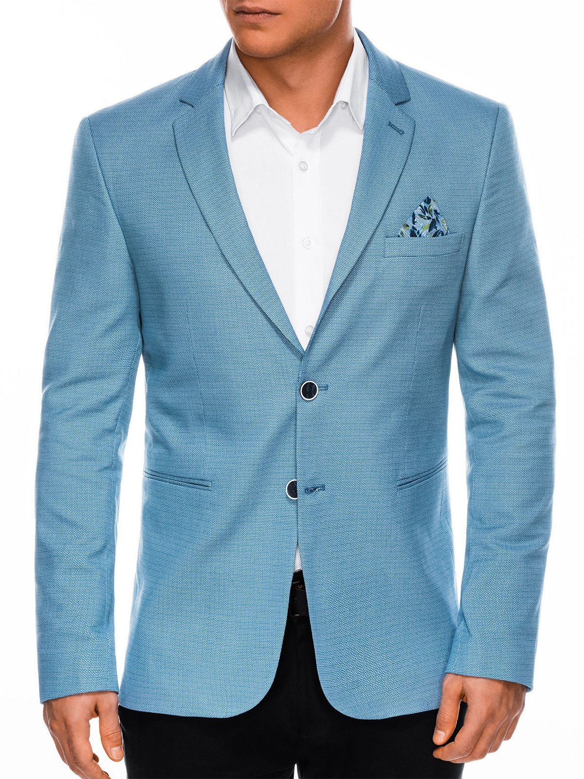 Купить со скидкой Піджак чоловічий елегантний M102 - блакитний