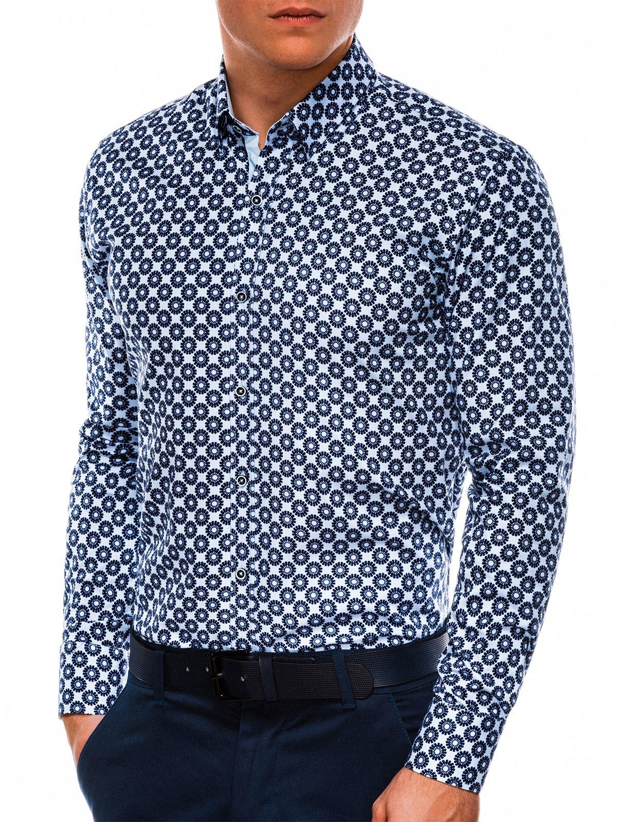 Купить со скидкой Сорочка чоловіча елегантна з довгим рукавом K499 – блакитна/темно-синя