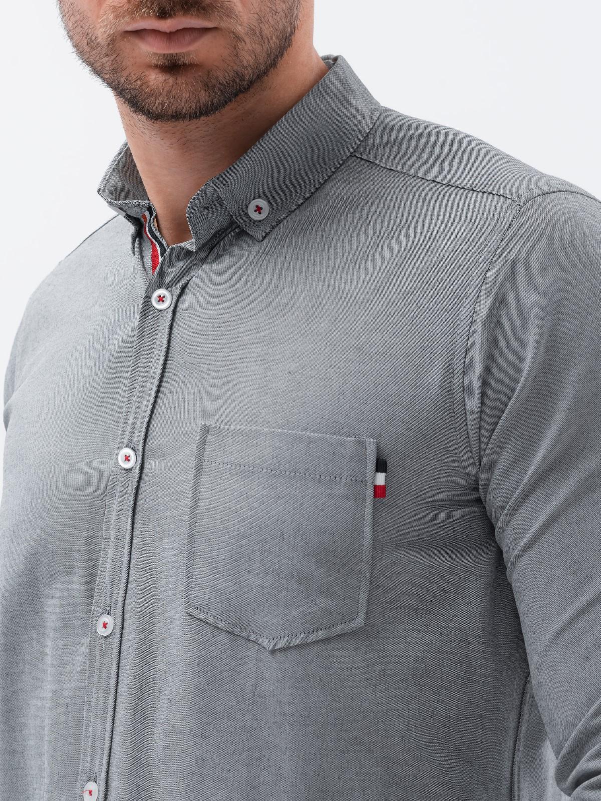 Купить со скидкой Чоловіча сорочка з довгим рукавом K490 - сіра