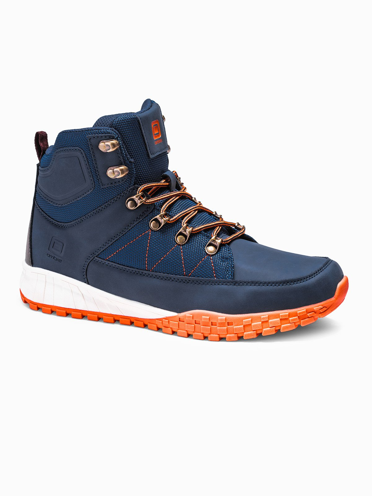 Купить Чоловічі зимові черевики траппери T315 - темно-сині, Ombre Clothing