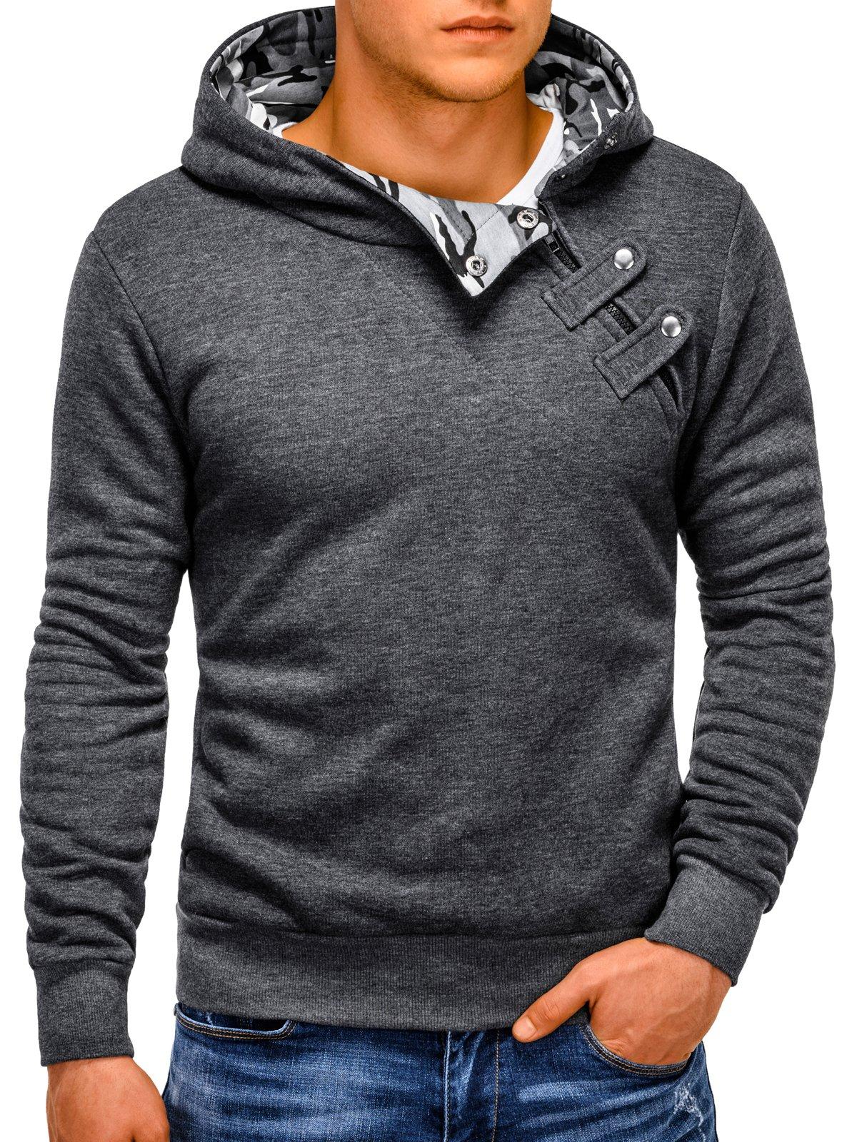 Купить со скидкой Толстовка чоловіча з капюшоном PACO - темно-сіра/камуфляж