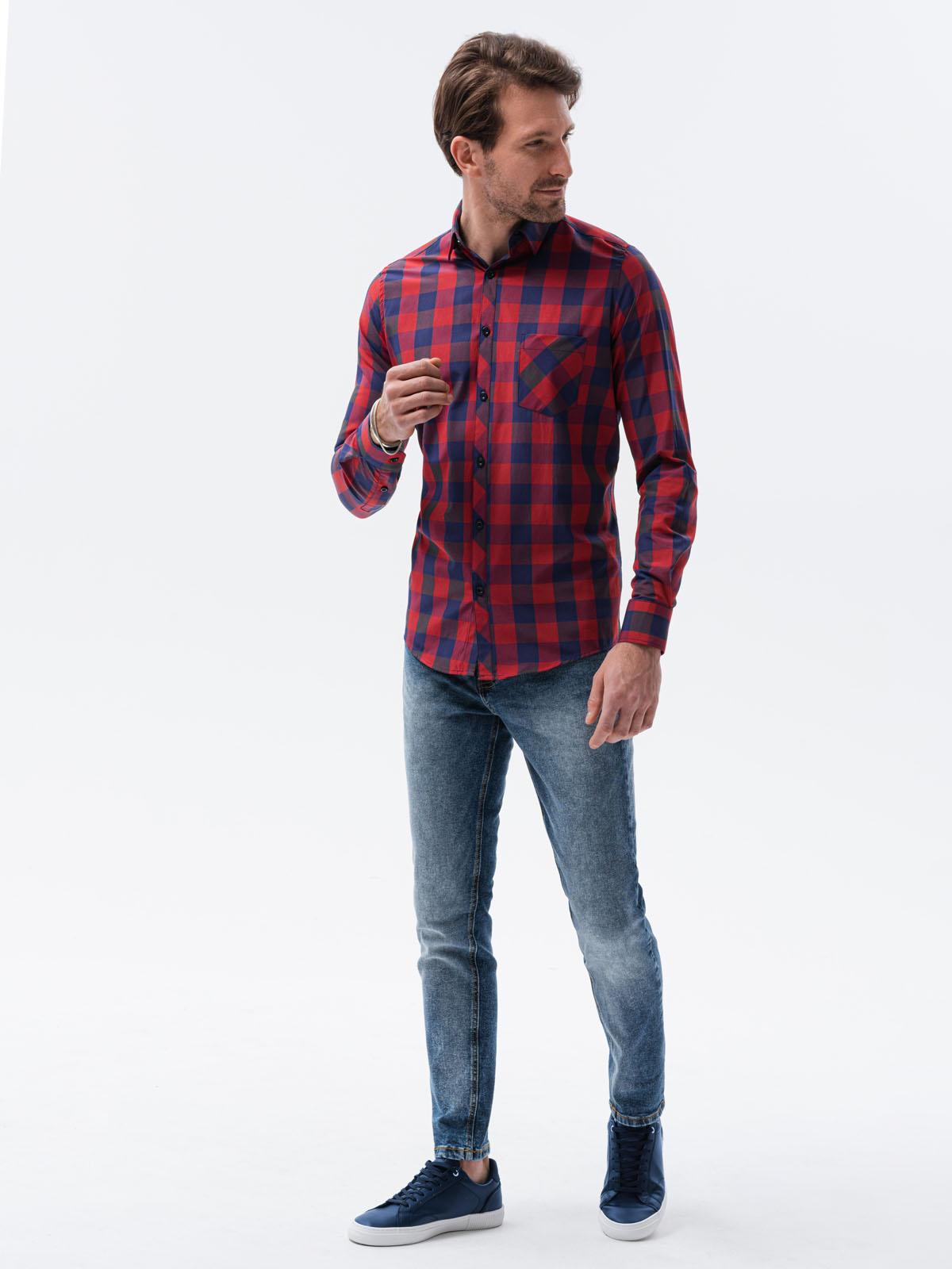 Купить Сорочка чоловіча в клітинку з довгим рукавом K282 - червоно-темно-синя, Ombre Clothing