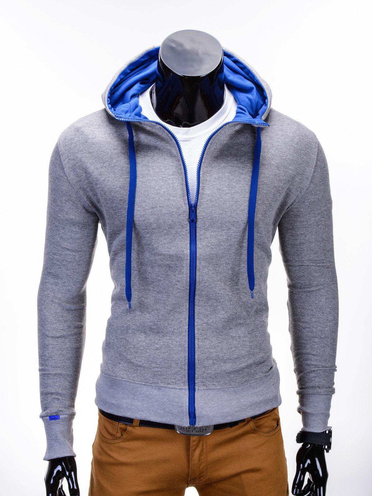 Толстовка чоловіча на застібці з капюшоном B485 - сіра/синя