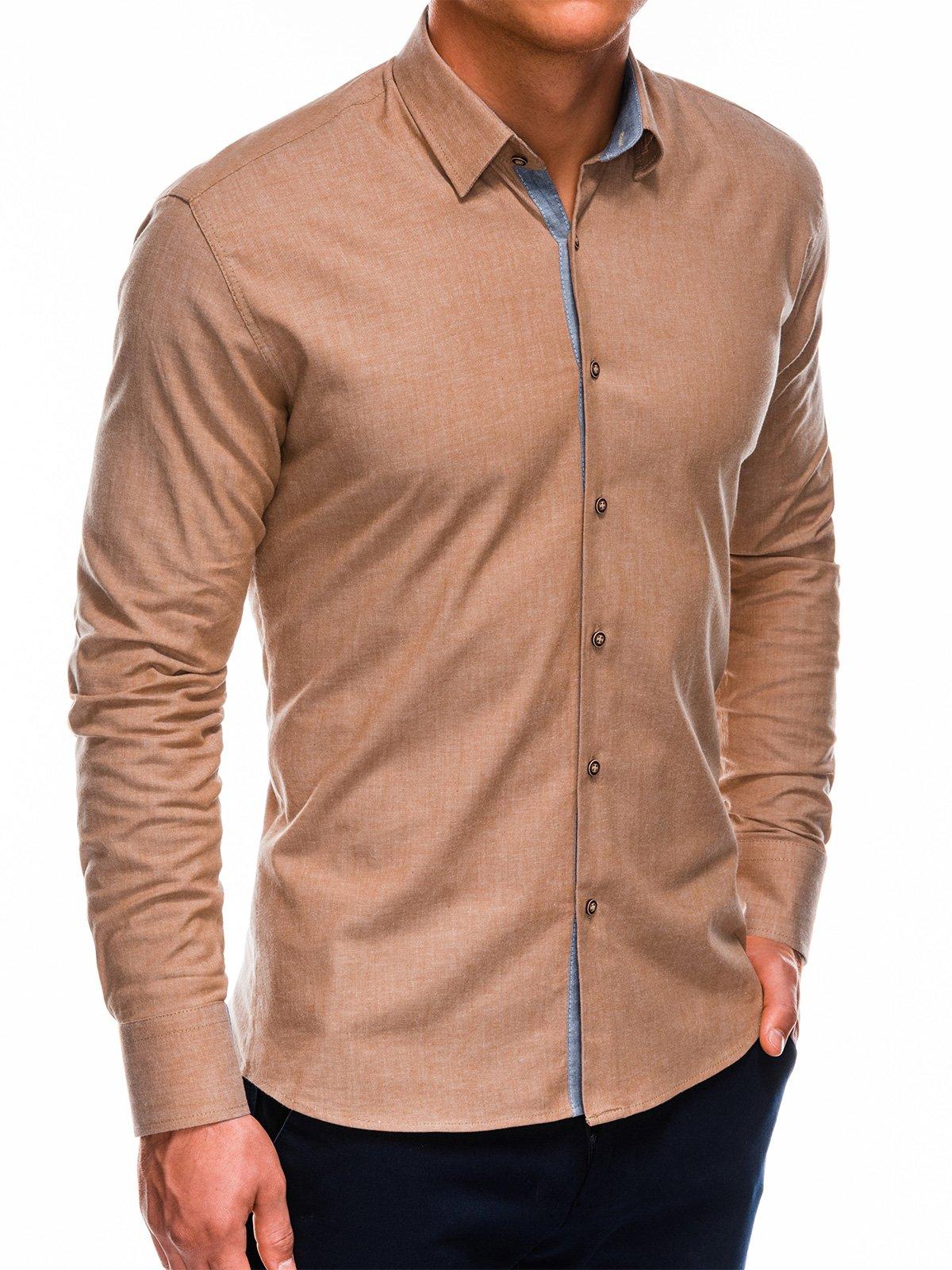 Купить Сорочка чоловіча з довгим рукавом K487 - руда, Ombre Clothing