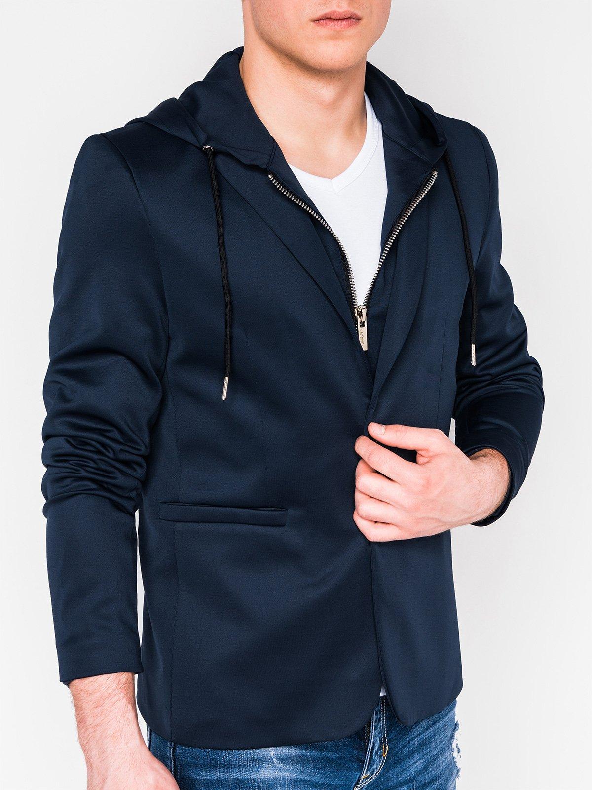 Купить со скидкой Піджак чоловічий повсякденний з капюшоном M99 - темно-синій