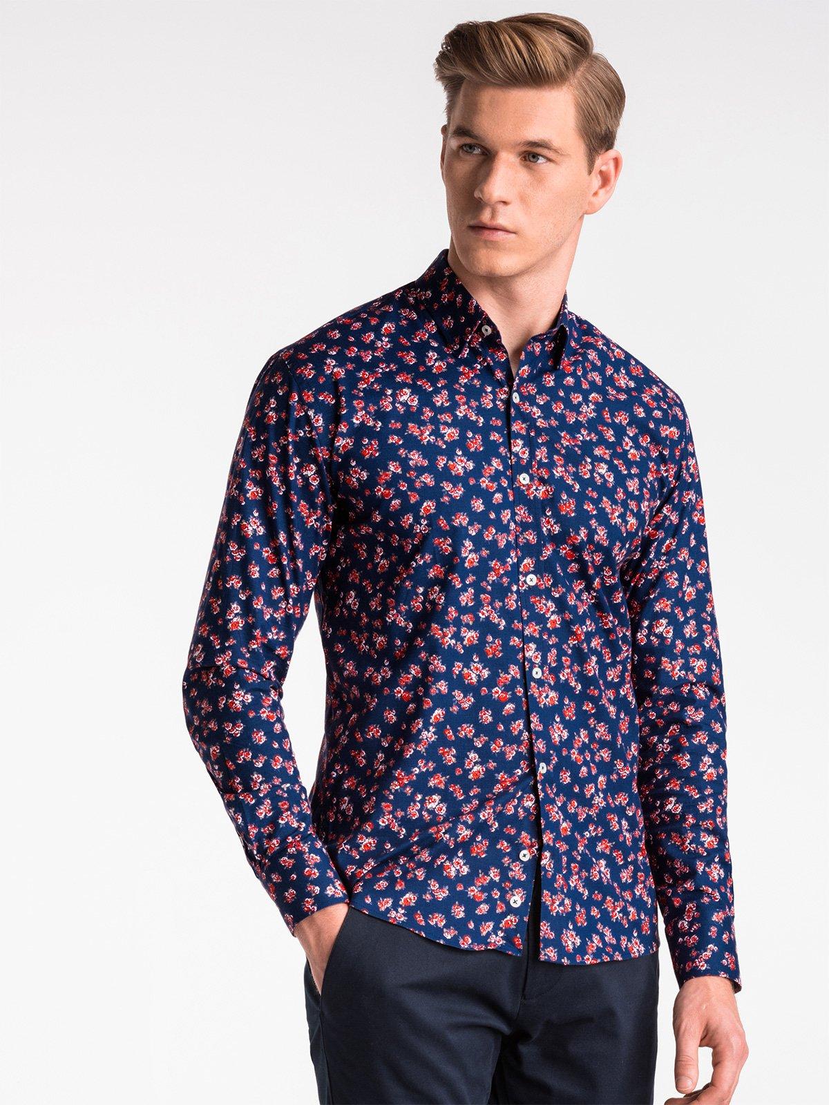 Купить со скидкой Сорочка чоловіча елегантна з довгим рукавом K501 – темно-синя/червона