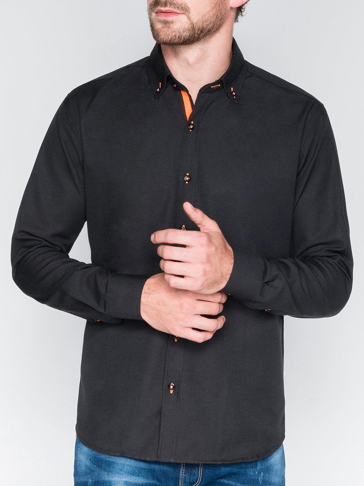 Сорочка чоловіча елегантна з довгим рукавом K300 - чорна