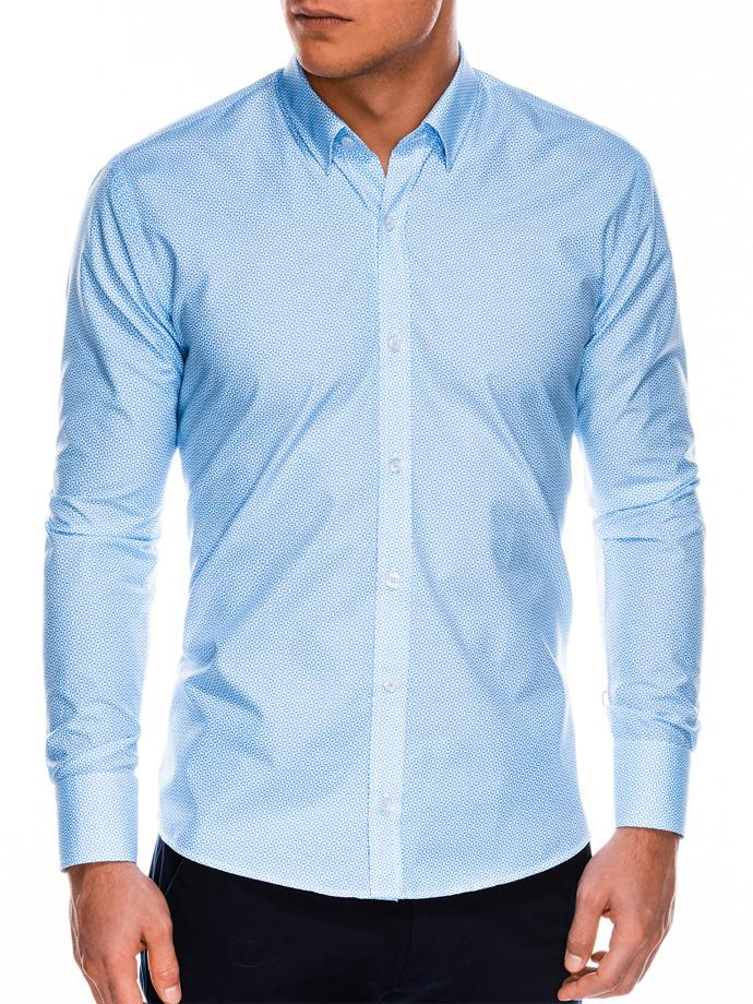 c252a8e102e1 Мужская рубашка элегантная с длинным рукавом K471 - голубая/белая ...