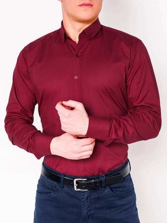 2975b0851332a56 Мужская рубашка элегантная с длинным рукавом K219 - бордовая