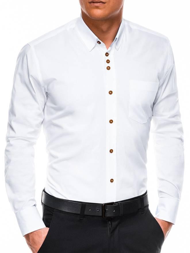 30e3ef529186c45 Мужская рубашка элегантная с длинным рукавом K302 - белая