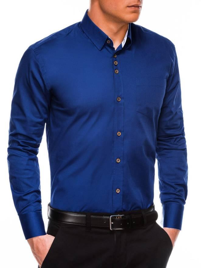 97c6a8b02d05720 Мужская рубашка элегантная с длинным рукавом K302 - темно-темно-синяя