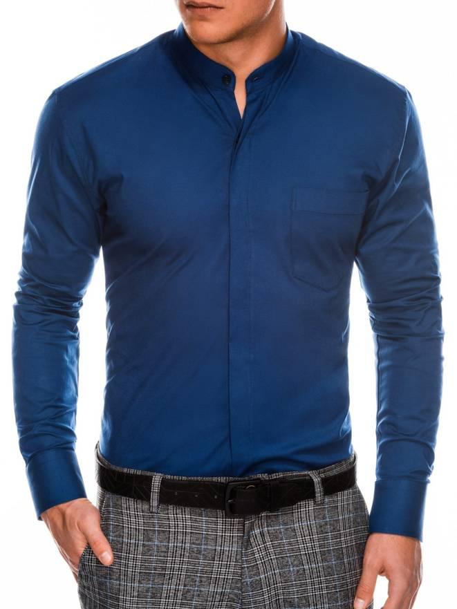df9d308ee25a317 Мужская рубашка элегантная с длинным рукавом K307 - темно-синяя