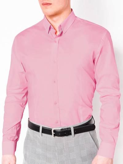 25874bb2d16ea6e Мужская рубашка элегантная с длинным рукавом K219 - розовая