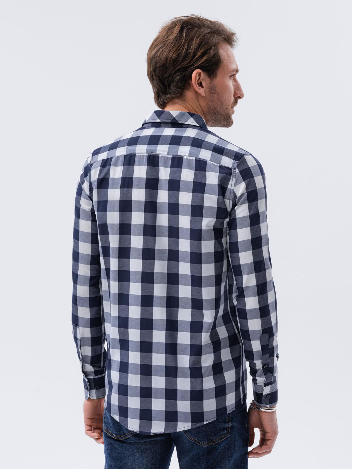 3ec3fec553c Мужская рубашка в клетку с длинным рукавом K282 - темно-синяя тёмно ...