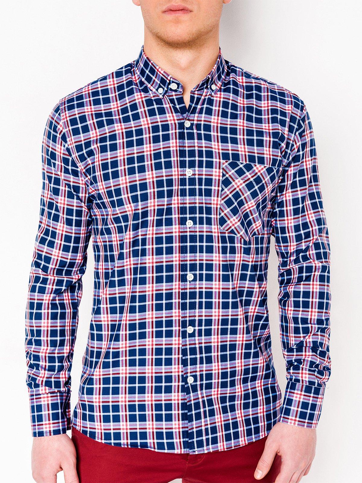 0b3dbaec092 ... Мужская рубашка в клетку с длинным рукавом K396 - темно-синяя красная  ...