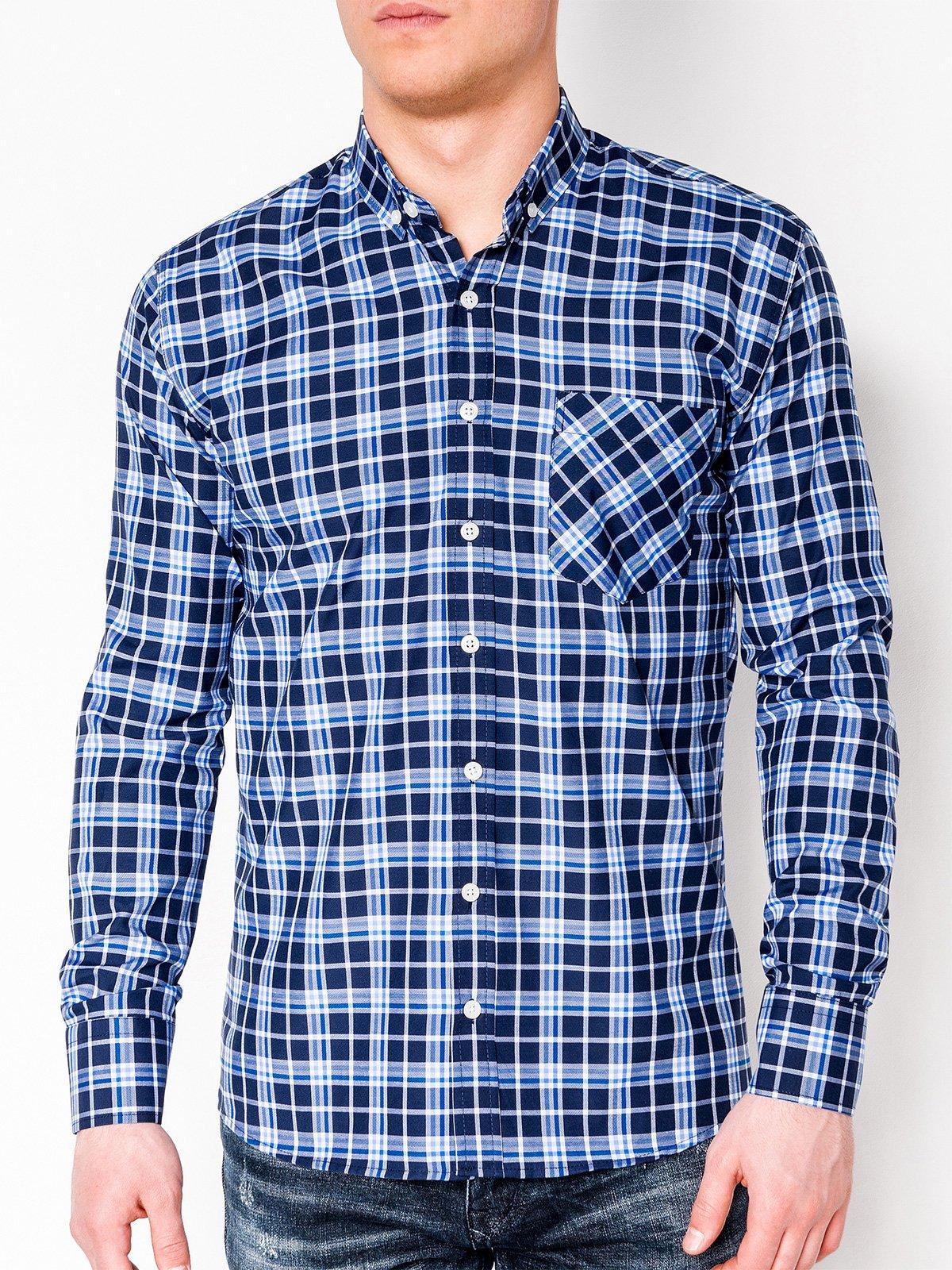 5066cbd5a0e ... Мужская рубашка в клетку с длинным рукавом K396 - темно-синяя синяя ...