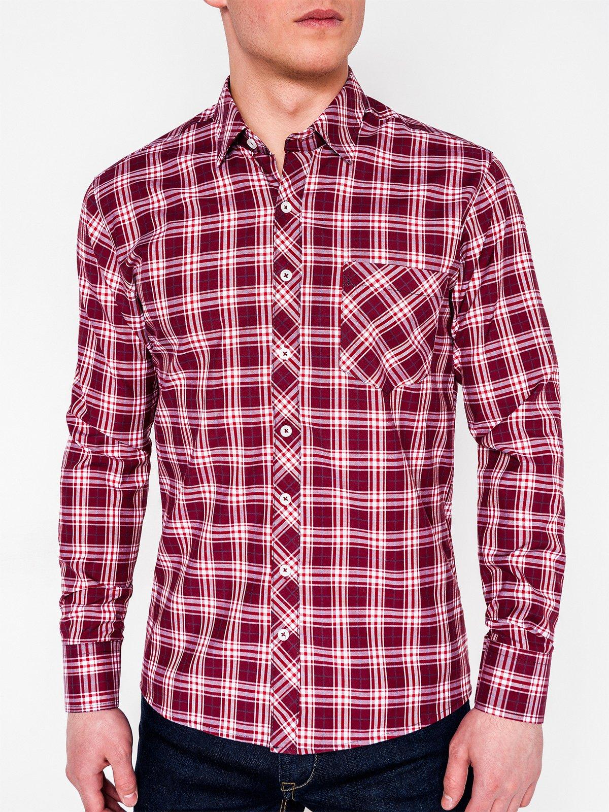 c6f5556fcd7 ... Мужская рубашка в клеточку с длинным рукавом K419 - бордовая ...