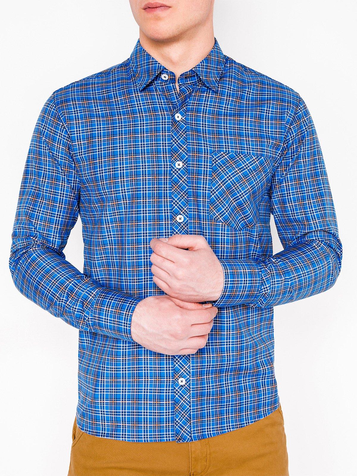 cb7d9851846 Мужская рубашка в клеточку с длинным рукавом K421 - синяя синий ...