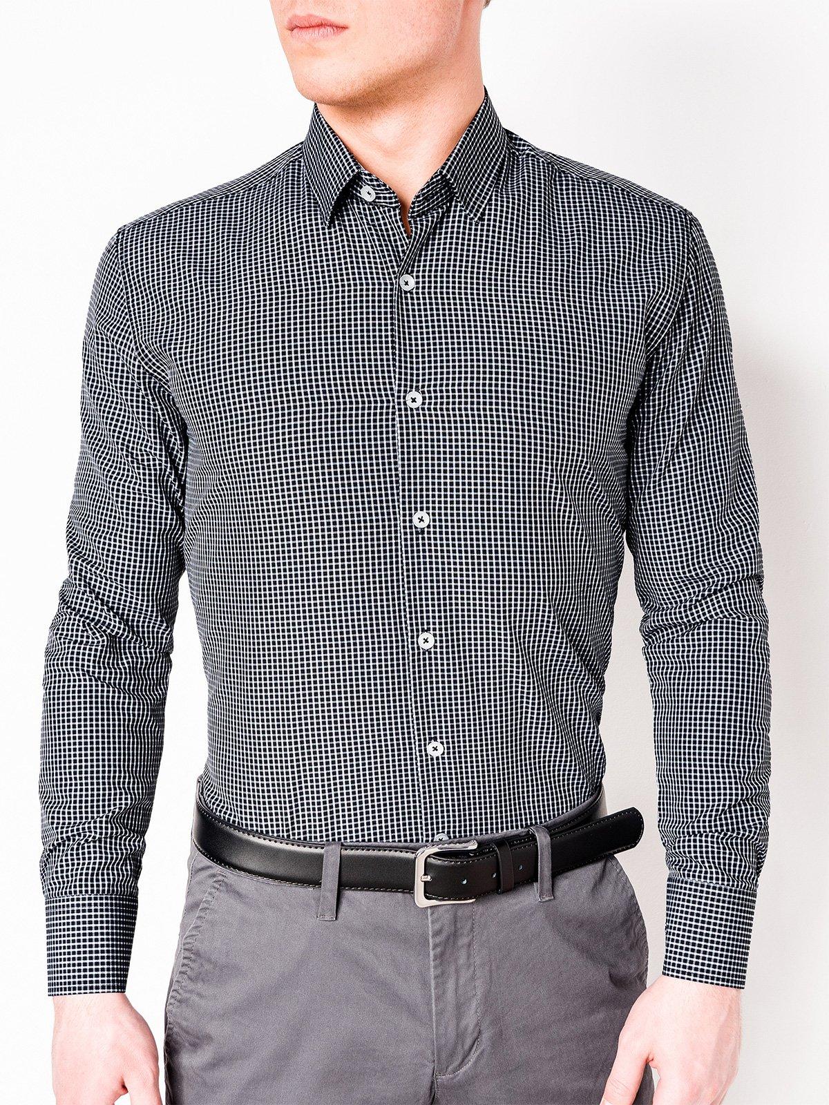 06813124011 ... Мужская рубашка в клеточку с длинным рукавом K426 - чёрная белая ...