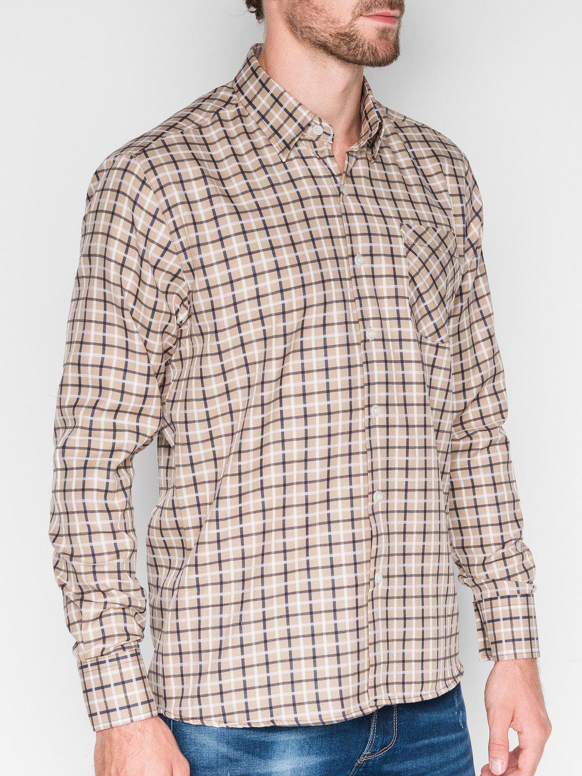 6a4c2935bee ... Мужская рубашка в клеточку с длинным рукавом k429- бежевая тёмно-синяя  ...