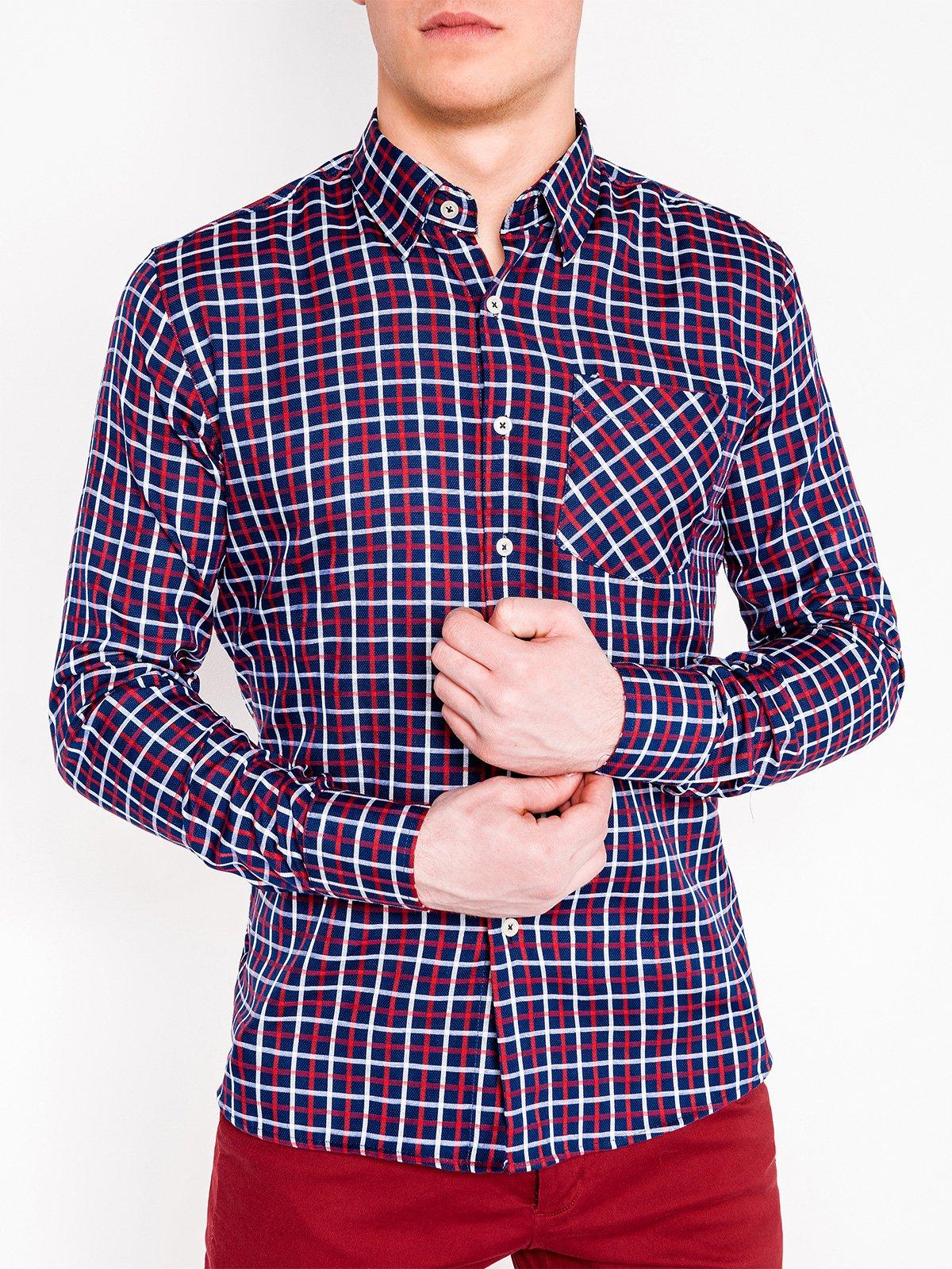 d8fb532f0de ... Мужская рубашка в клеточку с длинным рукавом K429 - тёмно-синяя красная  ...