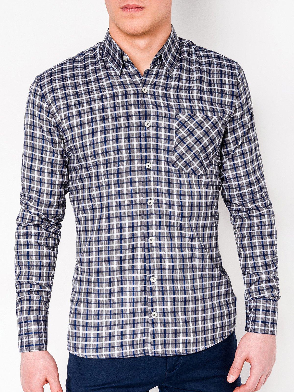 40bff3c3fa4 ... Мужская рубашка в клеточку с длинным рукавом K429 - тёмно-синяя темно-серая  ...