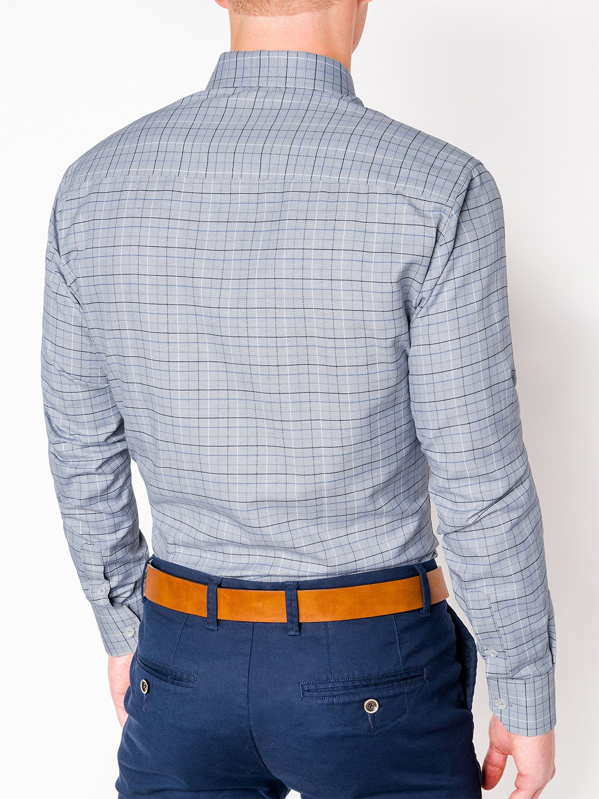 1b0f8e23ed9 Мужская рубашка в клеточку с длинным рукавом K433 - серая серый ...