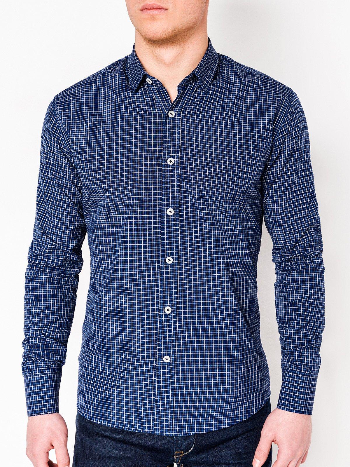 b1f663402807e04 Мужская рубашка в клеточку с длинным рукавом K434 - тёмно-синяя ...