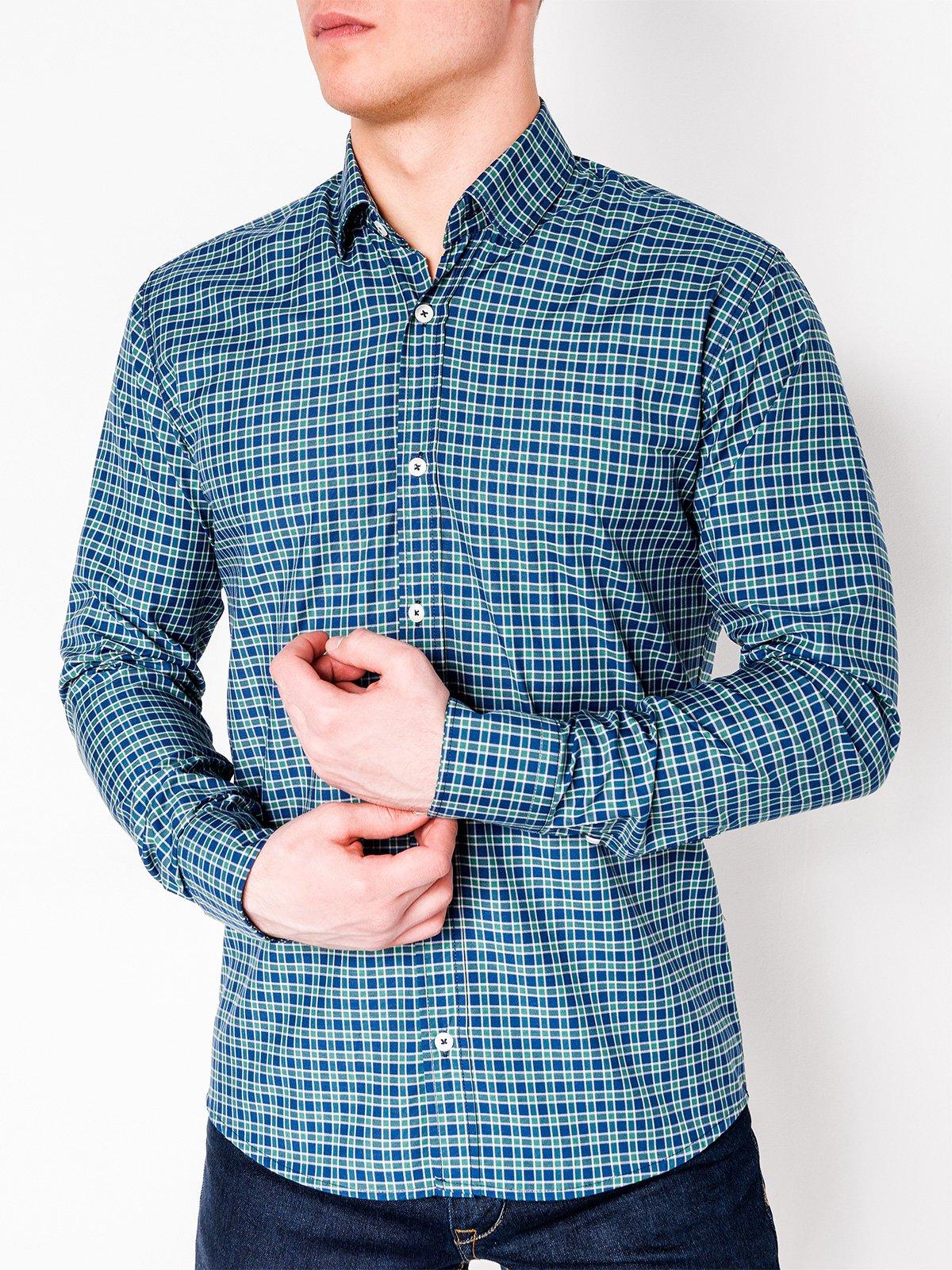ca09b7d12c2 ... Мужская рубашка в клеточку с длинным рукавом K436 - тёмно-синяя зеленая  ...