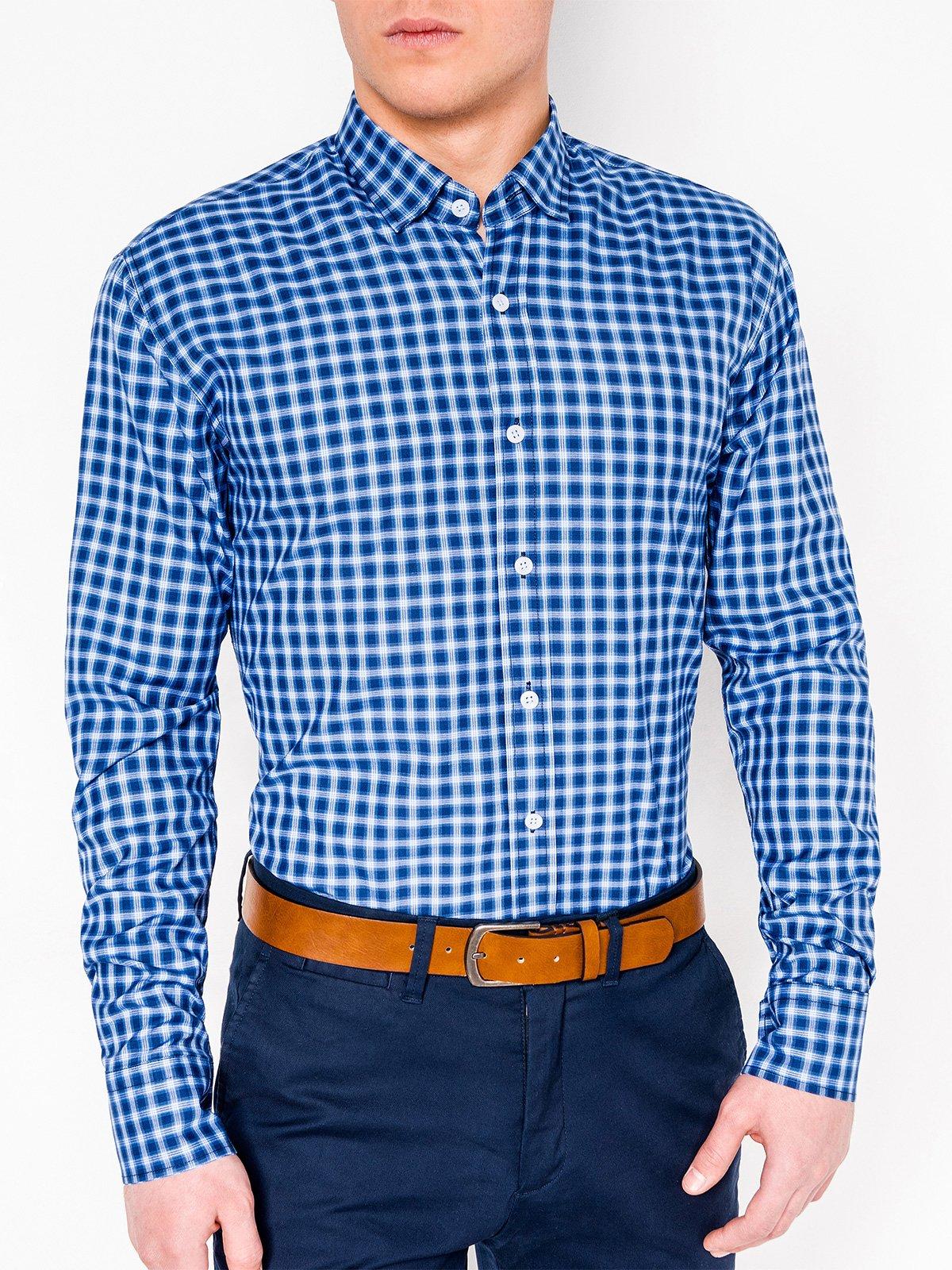 9ce2b474e46 ... Мужская рубашка в клеточку с длинным рукавом K438 - тёмно-синяя голубая  ...