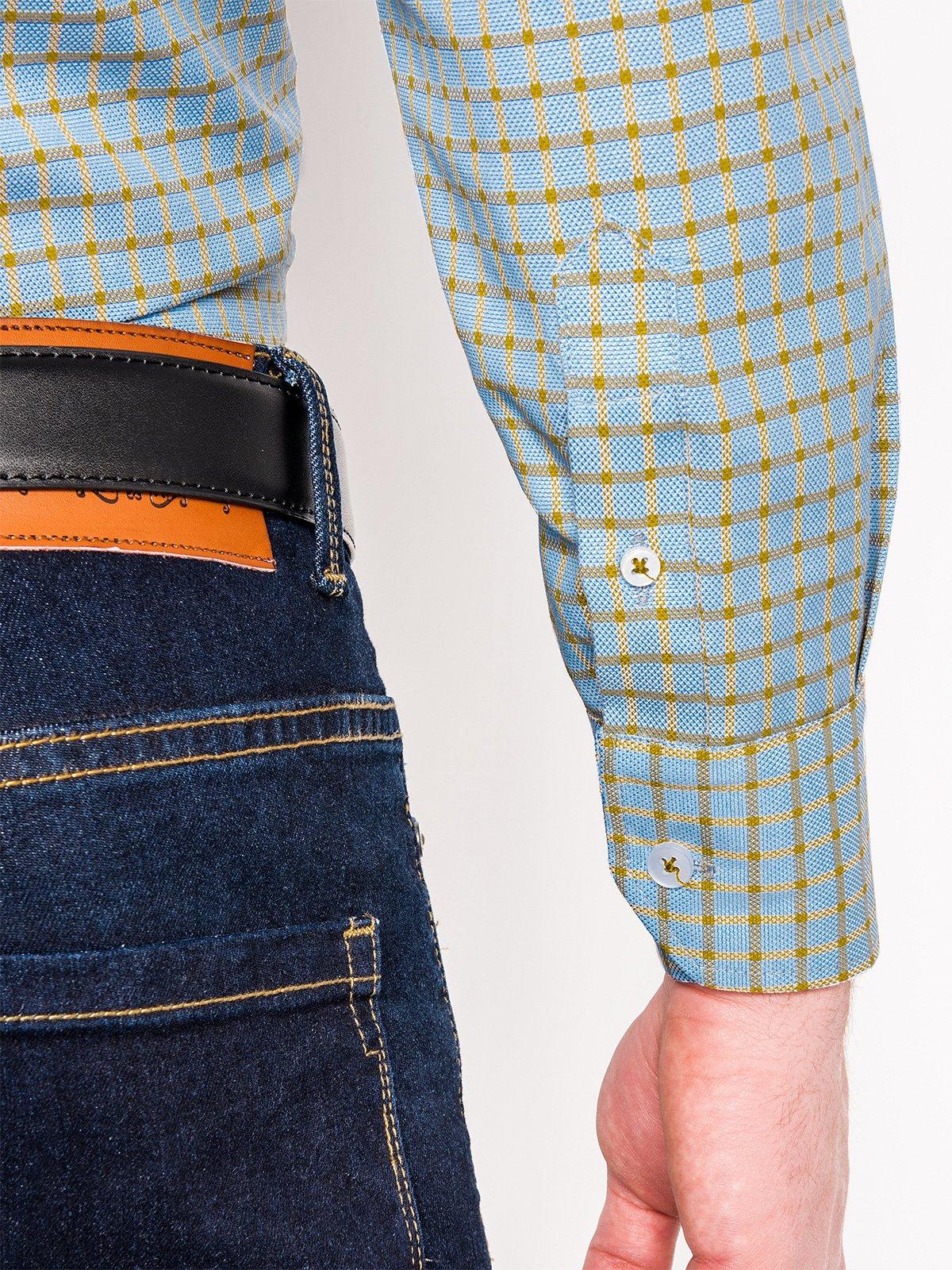 1264ad3e95740bc ... Мужская рубашка в клеточку с длинным рукавом K439 - голубая/жёлтая ...