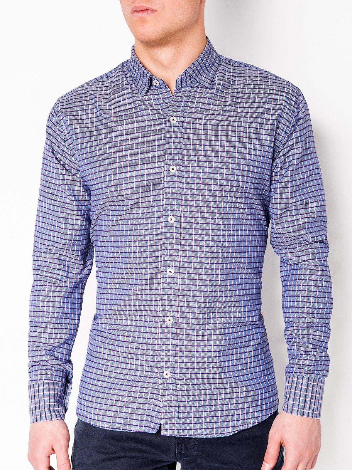 bdecef7c8d4 ... Мужская рубашка в клеточку с длинным рукавом K440 - тёмно-синяя красная  ...